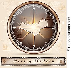 Map of Merzig-Wadern with borders in bronze