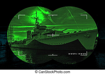 Infrared night view - Night vision watching at a warship -...