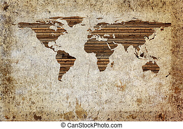 Grunge world map - Grunge vintage wooden plank world map...