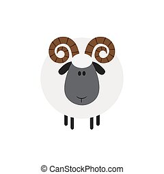 Ram Sheep.Modern Flat Design - Cute Ram Sheep.Modern Flat...