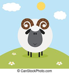 Cute Ram Black Head Sheep With Flower On A Hill.Modern Flat...