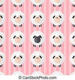 Sheep Pattern.Modern Flat Design Illustration 4