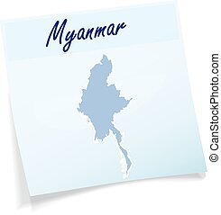 Map of myanmar as sticky note in blue