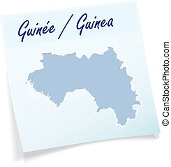 Map of Guinea as sticky note in blue