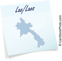 Map of Laos as sticky note in blue