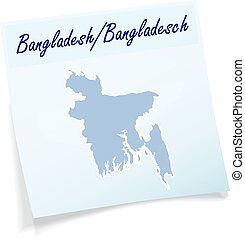 Map of Bangladesh as sticky note in blue