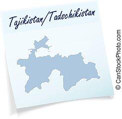 Map of tajikistan as sticky note in blue