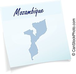Map of mozambique as sticky note in blue