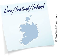 Map of Ireland as sticky note in blue