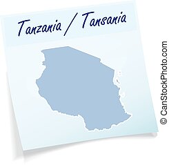 Map of Tanzania as sticky note in blue