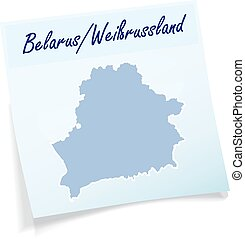 Map of belarus as sticky note in blue