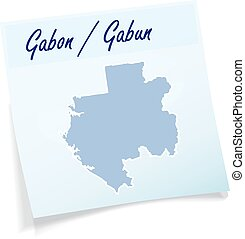 Map of gabon as sticky note in blue