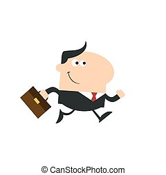 Manager With Briefcase Running