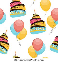 Cake and Balloons Holiday Seamless Pattern Background Vector...