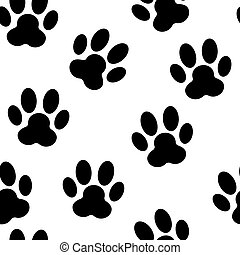 Animal Paw Seamless Pattern Background Vector Illustration...