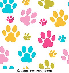 Animal Paw Seamless Pattern Background Vector Illustration....