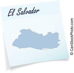 Map of el-salvador as sticky note in blue