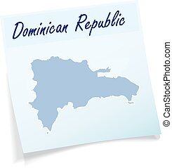 Map of Dominican Republic as sticky note in blue