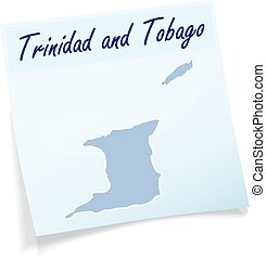 Map of Trinidad and Tobago as sticky note in blue