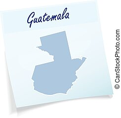 Map of Guatemala as sticky note in blue