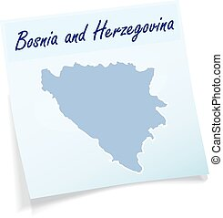 Map of Bosnia and Herzegovina as sticky note in blue