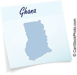 Map of Ghana as sticky note in blue