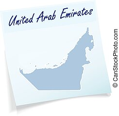 Map of United Arab Emirates as sticky note in blue