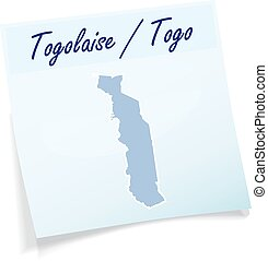 Map of togo as sticky note in blue
