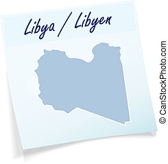 Map of Libya as sticky note in blue