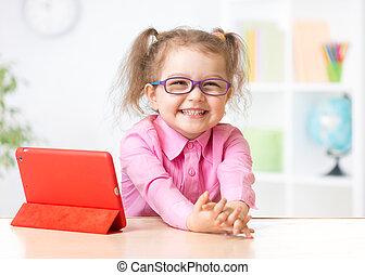 lycklig, begrepp, kompress, tidigt, PC, unge, Utbildning,...
