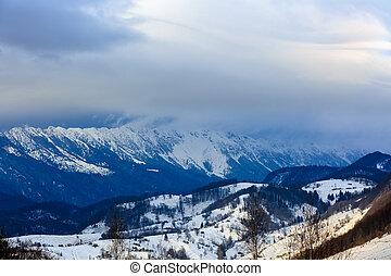 winter landscape in Piatra Craiului Mountains Romania