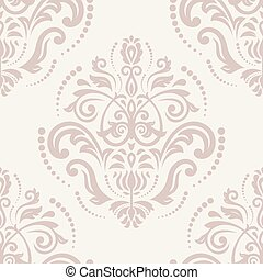 Damask Seamless Vector Pattern Orient Pink Background -...