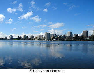 Oakland cityscape - View of Oakland from Lake Merritt,...