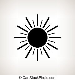 Silhouette sun with rays on a light background, vector illustration