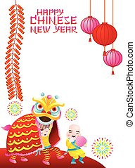 Chinese New Year Frame, Lion Dance - Chinese New Year Set