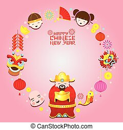 Chinese New Year Text, Icons Wreath - Chinese New Year Set