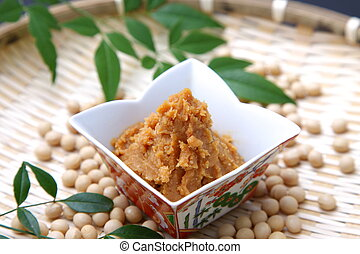 MISO and soybeans - studio shot of soybean paste MISO and...