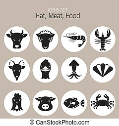 Icons Set : Animal, Meat, Seafood - Eat, Meat, Food Set
