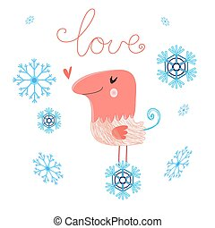 in love bird - funny love with bird on a white background...