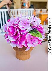Artificial flower beautiful purple in pot