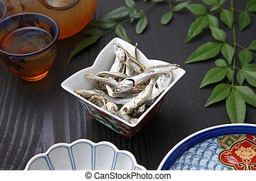 séché, sardine,