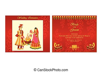 Indian wedding invitation card - vector illustration of...