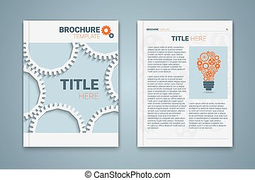 Vector brochure template design with cogwheels, light bulb...