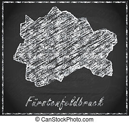 Map of Fuerstenfeldbruck as chalkboard in Black and White