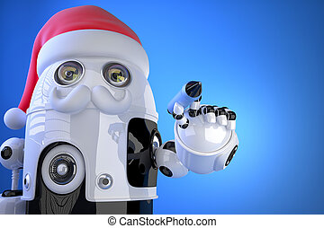 Robot Santa writes something with a pen. Contains clipping path