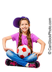 football socer - Happy smiling girl teenager wearing casual...