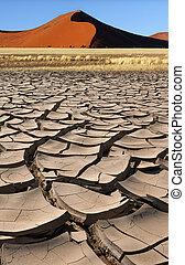 Sossusvlei - Namib Desert - Namibia - Dry earth and Sand...