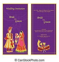 Indian wedding invitation card - vector illustration of...