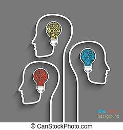 Head with bulb - Human head creating a new idea. Eps10...