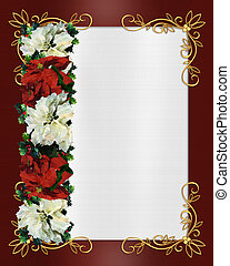 Christmas border poinsettias - Image and illustration...